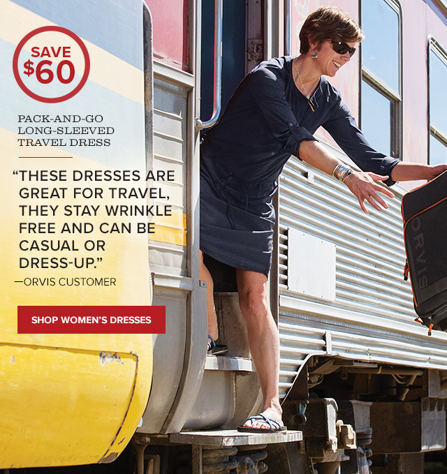 PACK-AND-GO LONG-SLEEVED TRAVEL DRESS  These dresses are great for travel—they stay wrinkle free and can be casual or dress-up. —ORVIS CUSTOMER