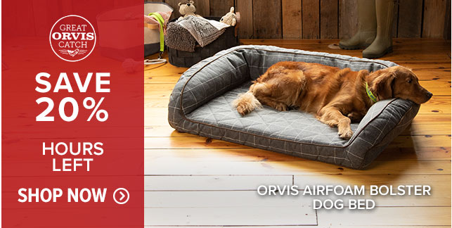 ORVIS AIRFOAM BOLSTER DOG BED SAVE 20% HOURS LEFT!