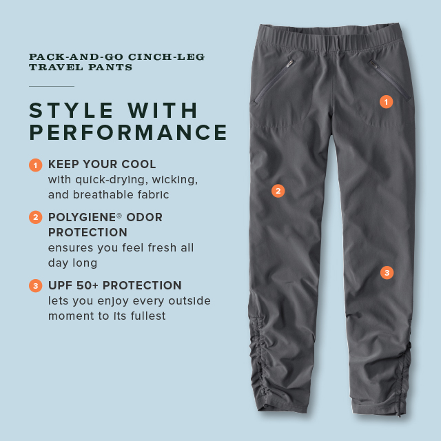 PACK-AND-GO CINCH-LEG TRAVEL PANTS  STYLE WITH PERFORMANCE  1. KEEP YOUR COOL 2. POLYGIENE® ODOR PROTECTION  3. UPF 50+ PROTECTION
